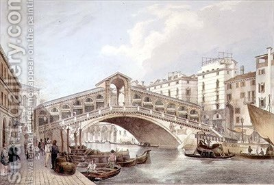 The Ponte di Rialto Venice by (after) Cecchini, Giovanni Battista - Reproduction Oil Painting