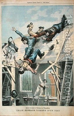 Three men falling from a roof by (after) Carrey - Reproduction Oil Painting