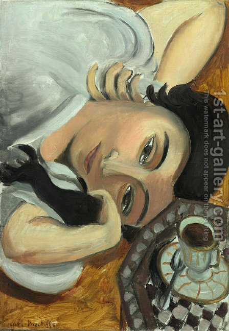 Lorette with a Cup of Coffee by Henri Matisse - Reproduction Oil Painting