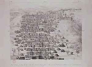 Rene Caillie reproductions - View of part of the town of Timbuktu from a hill