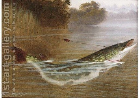 A hooked pike by A. Roland Knight - Reproduction Oil Painting