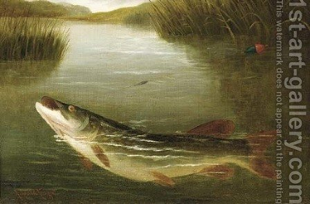 A pike on a line by A. Roland Knight - Reproduction Oil Painting