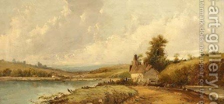 A cottage on the bend of a river by A.H. Vickers - Reproduction Oil Painting