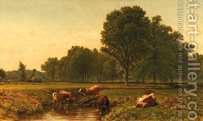 Connecticut Pastoral with Cattle, near Simsbury by Aaron Draper Shattuck - Reproduction Oil Painting