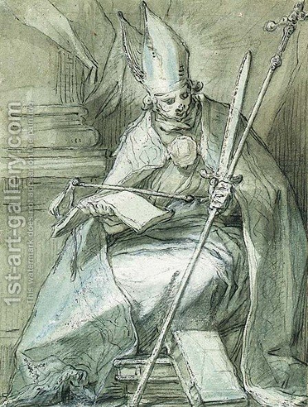 A seated Bishop holding a Crozier, a Sword, a Whip and a Book by Abraham Bloemaert - Reproduction Oil Painting