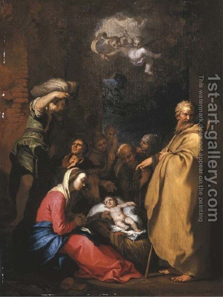The Adoration of the Shepherds by Abraham Bloemaert - Reproduction Oil Painting
