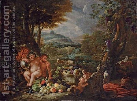 Silenus, with centaurs, leopards and a barrel of fruit in an extensive river landscape by Abraham Brueghel - Reproduction Oil Painting