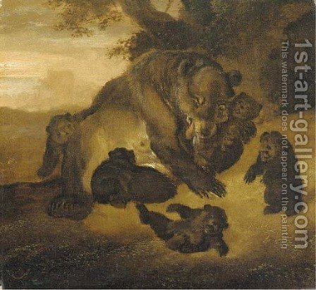 A bear with her cubs by Abraham Danielsz. Hondius - Reproduction Oil Painting