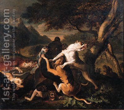 Hounds bringing down a bear by Abraham Danielsz Hondius - Reproduction Oil Painting