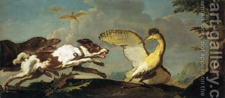 Hounds chasing a wounded bittern by Abraham Danielsz Hondius - Reproduction Oil Painting
