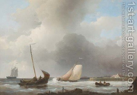 Sailing boats off the Dutch coast by Abraham Hulk Jun. - Reproduction Oil Painting
