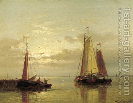 Sailing vessels near a jetty at dusk by Abraham Hulk Jun. - Reproduction Oil Painting