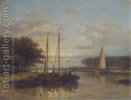 Sailing vessels on a calm river at dusk by Abraham Hulk Jun. - Reproduction Oil Painting
