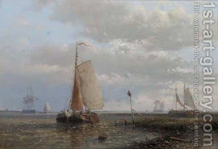 Sailingbarges in an estuary by Abraham Hulk Jun. - Reproduction Oil Painting