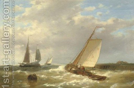 Shipping near a jetty by Abraham Hulk Jun. - Reproduction Oil Painting