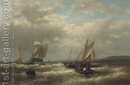 Shipping on a blustery day by Abraham Hulk Jun. - Reproduction Oil Painting