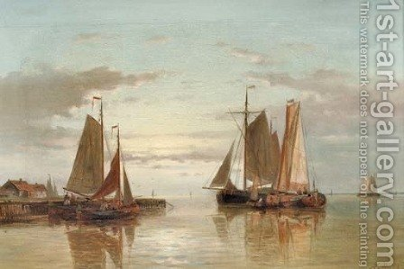 Shipping on a calm by Abraham Hulk Jun. - Reproduction Oil Painting