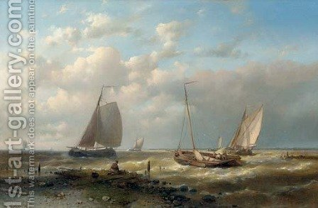 Shipping on a choppy sea by Abraham Hulk Jun. - Reproduction Oil Painting