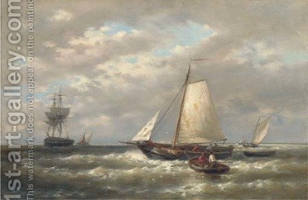 A stiff breeze offshore by Abraham Hulk Snr - Reproduction Oil Painting