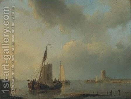Barges moored at dusk by Abraham Hulk Snr - Reproduction Oil Painting