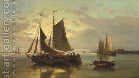 Barges on the Scheldt at dusk by Abraham Hulk Snr - Reproduction Oil Painting