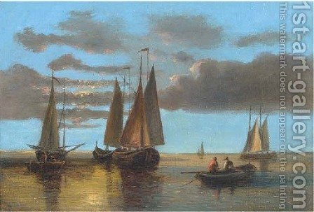Fishing boats on the Scheldt by Abraham Hulk Snr - Reproduction Oil Painting