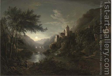 Figures beside a moonlit river with a castle on a hillside by Abraham Pether - Reproduction Oil Painting