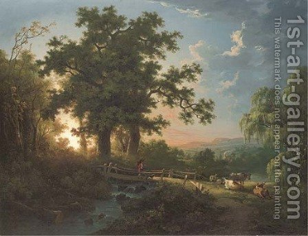 A wooded river landscape, with a faggot gatherer on a bridge, cattle and sheep by Abraham Pether - Reproduction Oil Painting