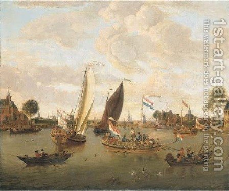 A view of Amsterdam with the Trekschuit and Smalschips on the River Buiten-Amstel near the Hooge Sluis with elegant figures, carriages and townsfolk by Abraham Storck - Reproduction Oil Painting