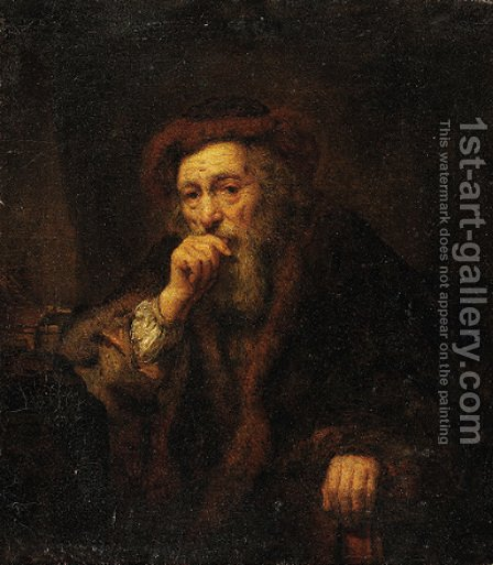 A bearded old man by Abraham van Dijck - Reproduction Oil Painting