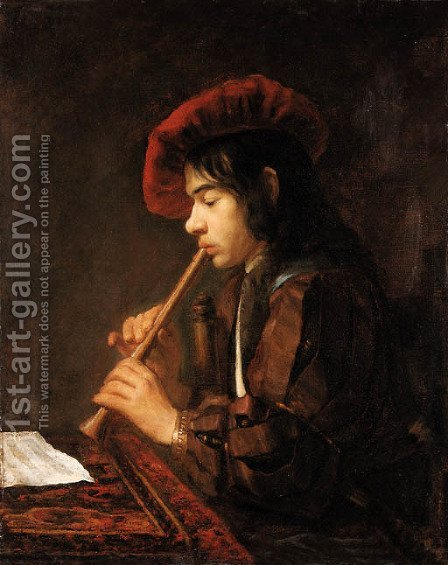 The Piping Boy portrait of a youth, half-length seated, playing a pipe, in a slashed doublet and a red hat by Abraham van Dyck - Reproduction Oil Painting
