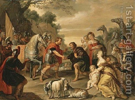 The reconciliation of Jacob and Esau by Abraham Willemsens - Reproduction Oil Painting