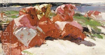 Peasant Women on the Banks of the Volga by Abram Efimovich Arkhipov - Reproduction Oil Painting