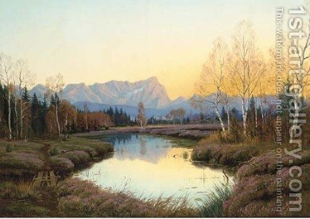 Autumn sunset by Adalbert Wax - Reproduction Oil Painting