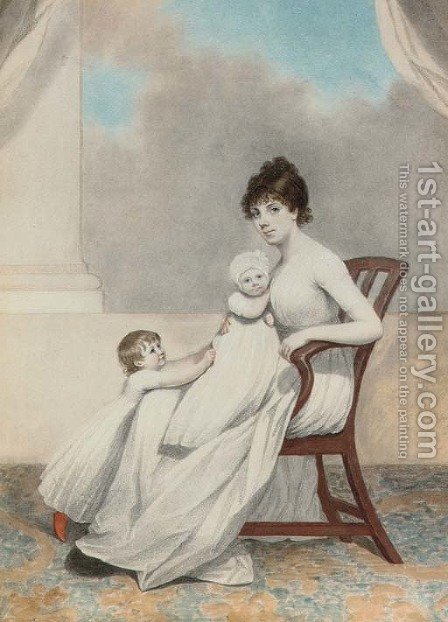 Portrait of Mrs Phillips and her two children by Adam Buck - Reproduction Oil Painting