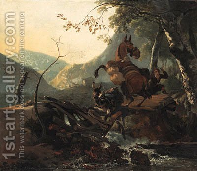 An Italianate landscape with a donkey and a rearing horse crossing a collapsing bridge by Adam Pynacker - Reproduction Oil Painting