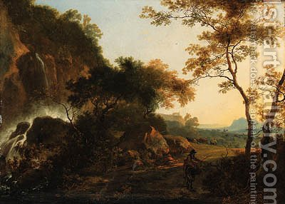 An Italianate Landscape with a Traveller on a Path by a Waterfall, a drover and cattle beyond by Adam Pynacker - Reproduction Oil Painting