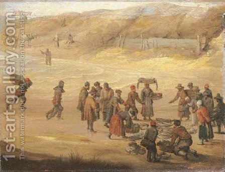 A fish market on a beach by Adam Willaerts - Reproduction Oil Painting