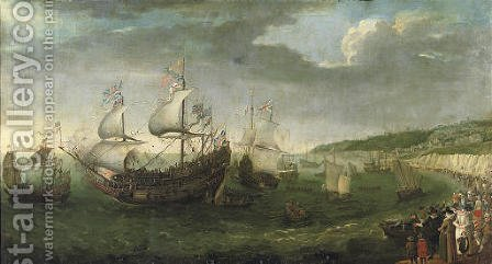 The Embarkation of the Elector Palatine in the 'Prince Royal at Dover, 25 April 1613 by Adam Willaerts - Reproduction Oil Painting