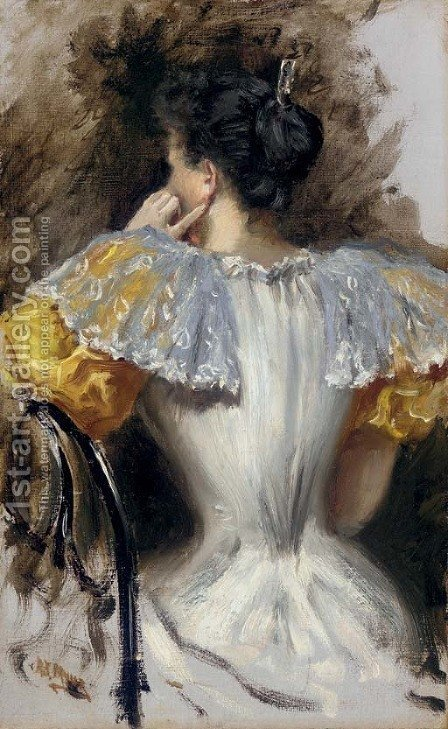 Woman in a White Dress by Addison Thomas Millar - Reproduction Oil Painting