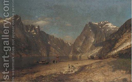 Unloading the catch, a Norwegian Fjord by Adelsteen Normann - Reproduction Oil Painting