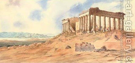 East front of the Parthenon, Athens, Greece by Admiral Sir Henry Byam Martin - Reproduction Oil Painting
