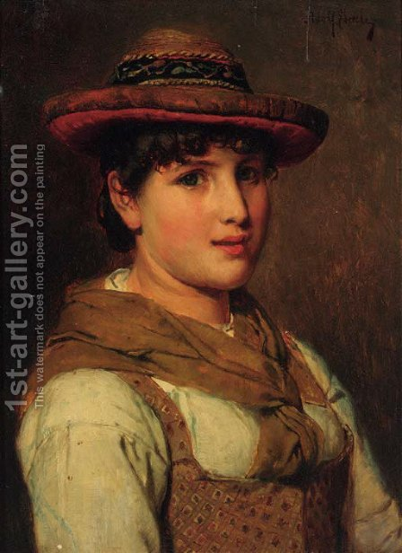 A portrait of a young lady, half-length, wearing a hat by Adolf Eberle - Reproduction Oil Painting