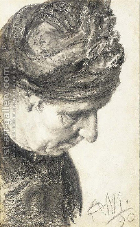 Head of an woman looking down to the right by Adolph von Menzel - Reproduction Oil Painting