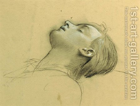 Study of the head of St Cecilia, possibly for 'Ahasver' by Adolf Hiremy-Hirschl - Reproduction Oil Painting