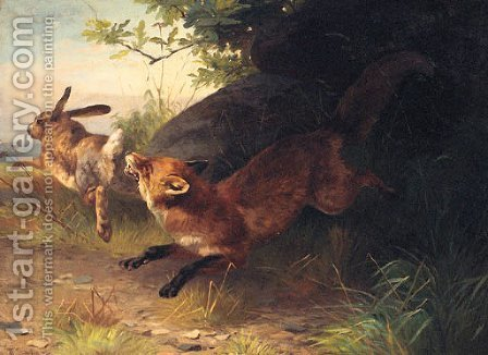 A Fox Chasing A Rabbit by Adolf Henrik Mackeprang - Reproduction Oil Painting