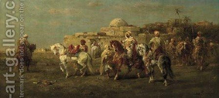 Arab Horsemen 2 by Adolf Schreyer - Reproduction Oil Painting