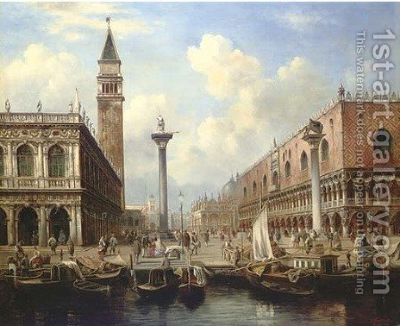 The Piazzetta, Venice by Adolf Sukkert - Reproduction Oil Painting