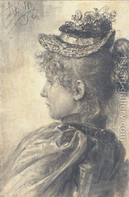 Portrait of a girl in profile to the left, bust-length, wearing a straw hat by Adolph von Menzel - Reproduction Oil Painting