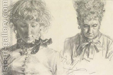 Portraits of a girl and an old woman, bust-length by Adolph von Menzel - Reproduction Oil Painting